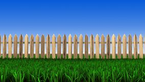 Wooden fence and green grass. 3d rendering of wooden fence located on a field of grass Stock Image