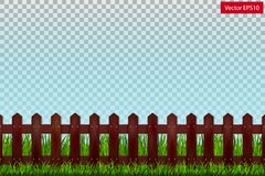 Wooden fence and green grass on a transparent background. Vector Stock Photos