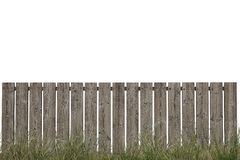 Wooden Fence with Green Grass  on White Royalty Free Stock Image