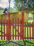 Wooden fence with guards Stock Images