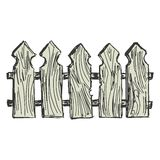 Wooden  fence. Hand drawn, cartoon, sketch illustration of wooden  fence Stock Photo