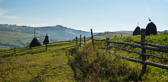 Wooden fence, haystacks and white storks in the Ukrainian Carpathians royalty free stock photo