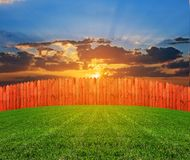Wooden fence on a hill Royalty Free Stock Images