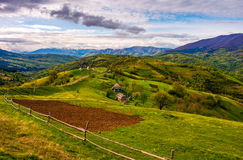 Wooden fence on the hillside in Carpathian rural area Royalty Free Stock Photography
