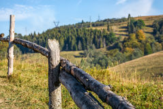 Wooden fence on hillside near forest. Wooden fence wrapped by a wire on hillside near forest. beautiful countryside autumnal morning Royalty Free Stock Photos