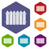 Wooden fence icons set hexagon Royalty Free Stock Photography
