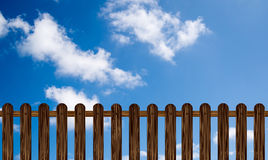 Wooden fence(illustration) on a blue sky Stock Photo