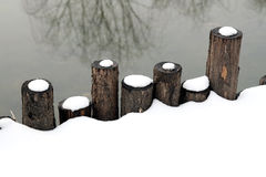 Wooden Fence In Snow. Royalty Free Stock Photography