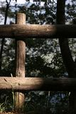 Wooden fence inside a wood royalty free stock photography