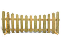 Wooden fence isolated over the white Stock Photos