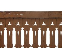 Wooden fence isolated. On white royalty free stock image