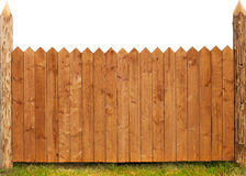 Wooden fence isolated on white. Texture stock photography
