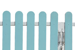 Blue fence. Wooden fence isolated on white Stock Image