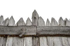 Wooden Fence isolated on white. Old Panels. Template or mock up stock photography