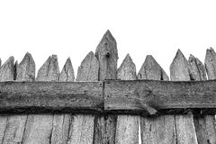 Wooden Fence isolated on white. Old Panels. Template or mock up royalty free stock image