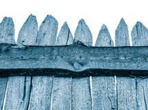 Wooden Fence isolated on white. Old Panels. Template or mock up. Blue Wooden Fence isolated on white. Old Panels. Template or mock up stock images