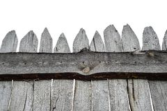 Wooden Fence isolated on white. Old Panels. Template or mock up. Gray Wooden Fence isolated on white. Old Panels. Template or mock up stock image