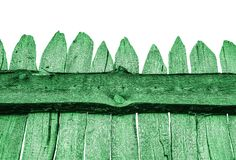 Wooden Fence isolated on white. Old Panels. Template or mock up. Green Wooden Fence isolated on white. Old Panels. Template or mock up stock images