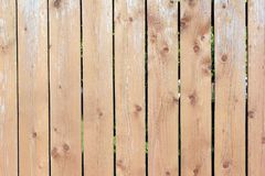 Wooden fence made of smooth vertical boards. Texture of a wooden surface. Blank background. royalty free stock photos