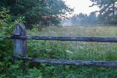 Wooden fence. Meadow behind a wooden fence and fog royalty free stock image