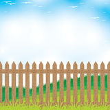 Wooden fence on a Mountain and Tree background.  Stock Photography