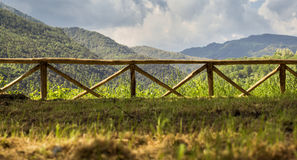 Wooden Fence with Mountain Views landscape Royalty Free Stock Photo