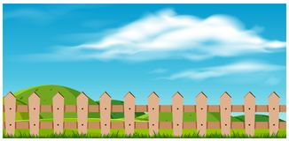 Wooden Fence and Nature Landscape. Illustration Royalty Free Stock Photography