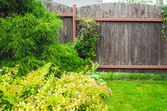 Wooden fence near fresh green lawn Royalty Free Stock Photography