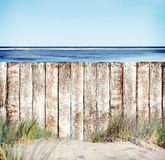 Wooden Fence with Ocean View Stock Photos