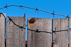 Wooden Fence Of Barbed Wire Royalty Free Stock Photography