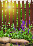 Wooden fence over the courtyard Stock Image
