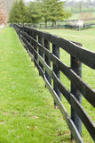 Wooden fence over green field Stock Photo