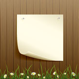 Wooden fence and paper background Royalty Free Stock Photo
