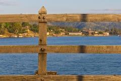 Wooden fence, part of wooden bridge Stock Images