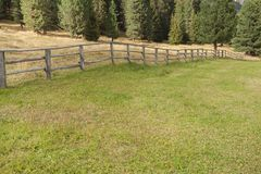 Wooden fence from a pasture in Val di Funes in Italy Stock Photography