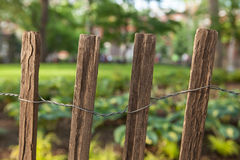 Wooden Fence. This is a picture of fours posts in a wooden fence Stock Photography