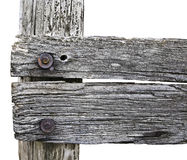 Wooden fence post in closeup view. Wooden fence post on farm with a closeup view stock photography