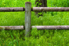 Wooden fence and post Stock Image