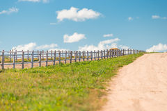 Wooden fence on a ranch. In a beautiful location royalty free stock photo