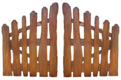 Wooden fence at ranch isolated over white Royalty Free Stock Photo