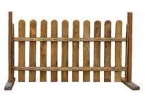 Wooden fence at ranch isolated on white background Stock Photography