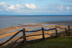 Wooden fence and river Royalty Free Stock Photos