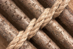 Wooden fence with rope Stock Photos