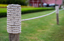 Wooden fence rope Royalty Free Stock Images