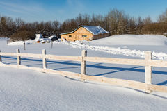 Wooden fence on rural farm Royalty Free Stock Photos