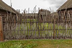Wooden fence. Rustic wooden fence, Shushenskoye, Russia Stock Photo