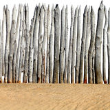 Wooden Fence on the Sand Stock Photo