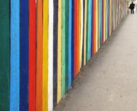 Wooden fence on sidewalk. Perspective painted wooden fence on sidewalk Royalty Free Stock Photos