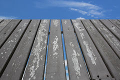 Wooden fence sky blue Royalty Free Stock Photo