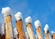 Wooden fence with snow caps Stock Image